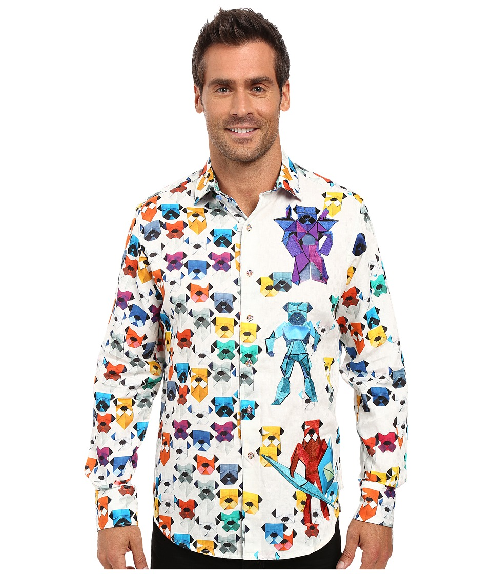 Robert Graham - Robot Bulldogs Limited Edition Long Sleeve Woven Shirt (White) Men's Long Sleeve Button Up