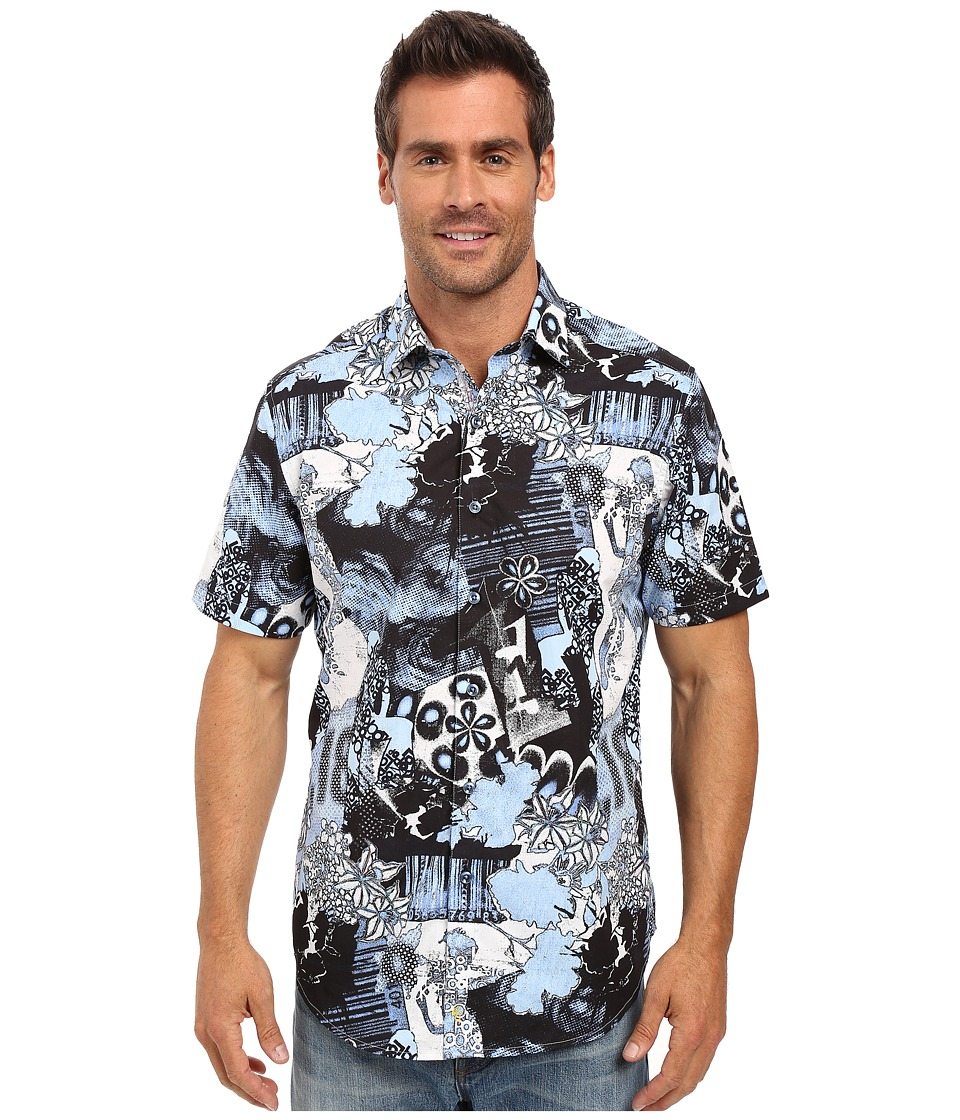 Robert Graham - Moapa Valley Short Sleeve Woven Shirt (Blue) Men's Short Sleeve Button Up