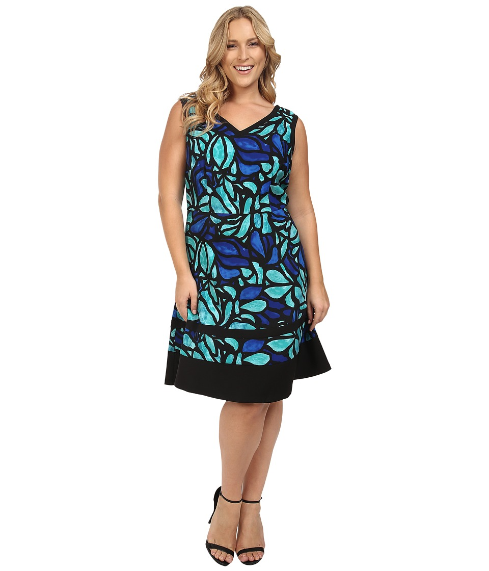 London Times - Plus Size Stainless Glass Blossom Fit Flare Dress (Black/Lime/Royal) Women's Dress