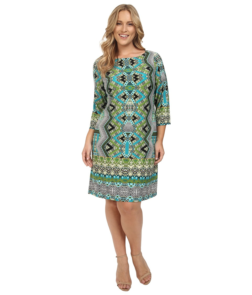 London Times - Plus Size Chevron Puzzle Long Sleeve Shift Dress (Soft White/Bahama Blue) Women's Dress