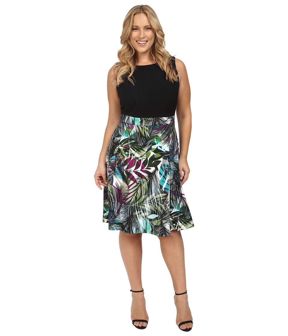 London Times - Plus Size Brush Jungle A-Line Skirt (Black/Soft White/Bahama Blue) Women's Dress