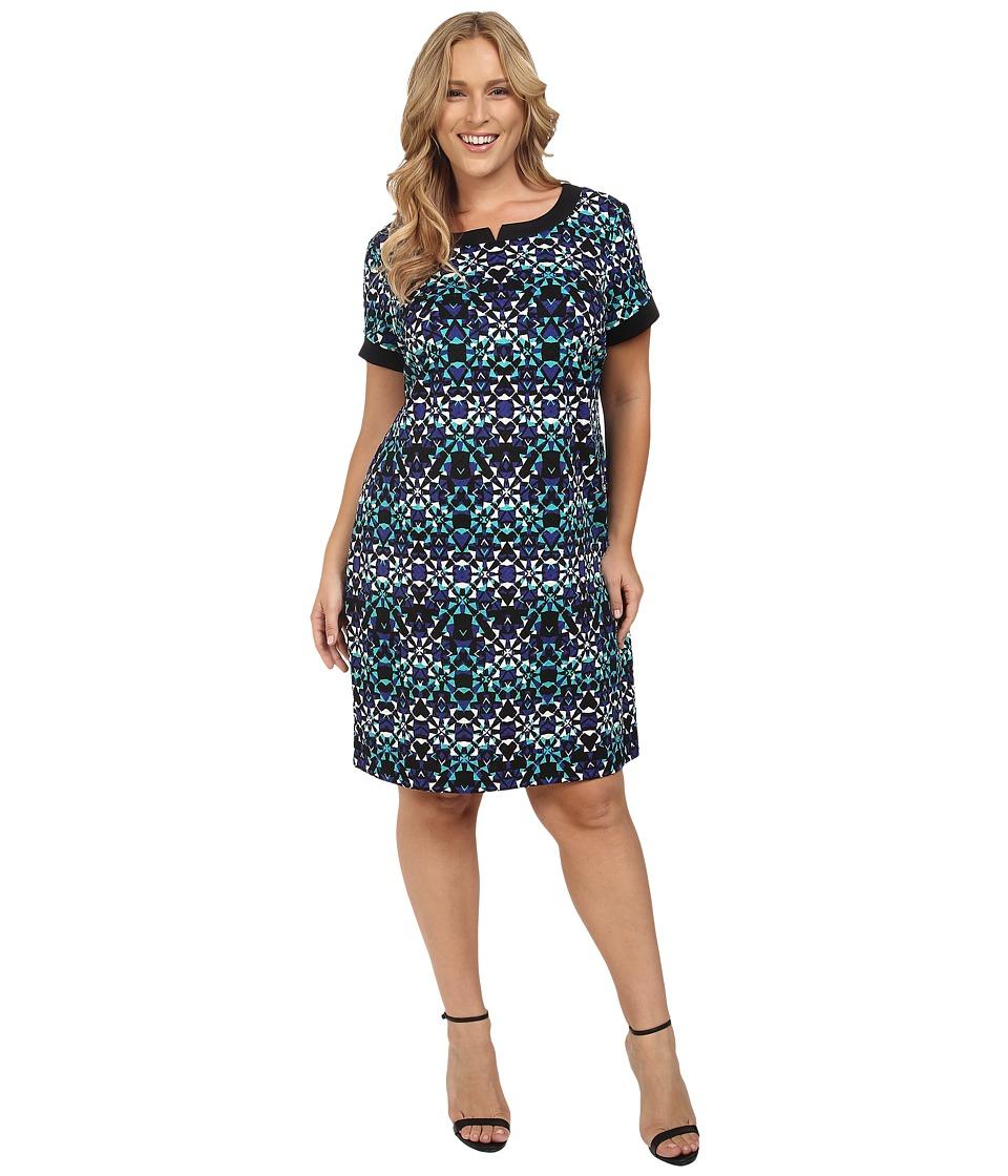 London Times - Plus Size Star Tile Short Sleeve Shift Dress (Black/Ivory/Turquoise) Women's Dress