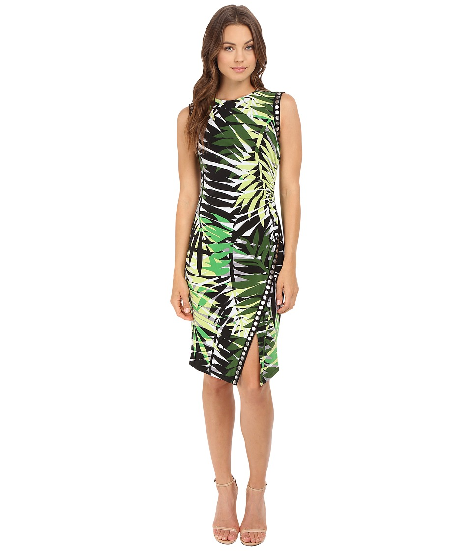 London Times - Jersey Sheath w/ Studded Trim Dress (Green Multi) Women's Dress