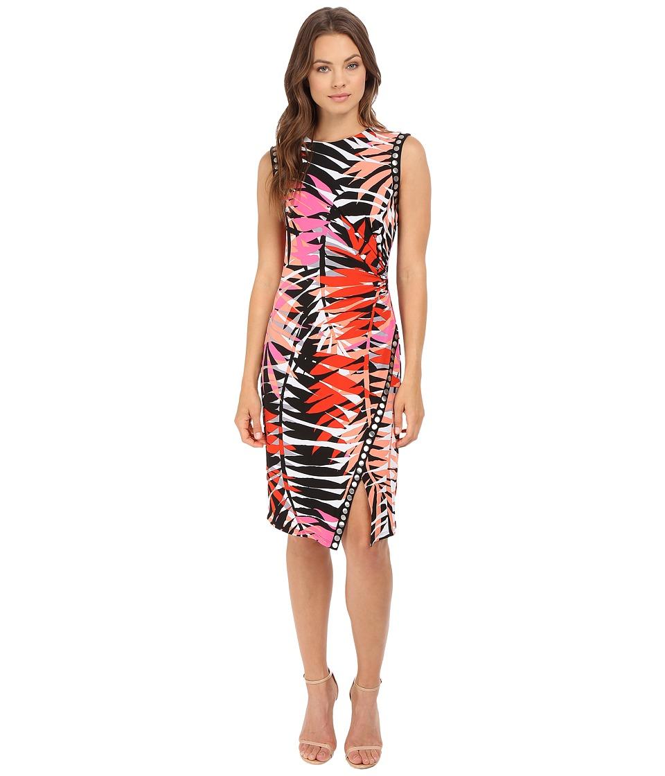 London Times - Jersey Sheath w/ Studded Trim Dress (Pink Multi) Women's Dress