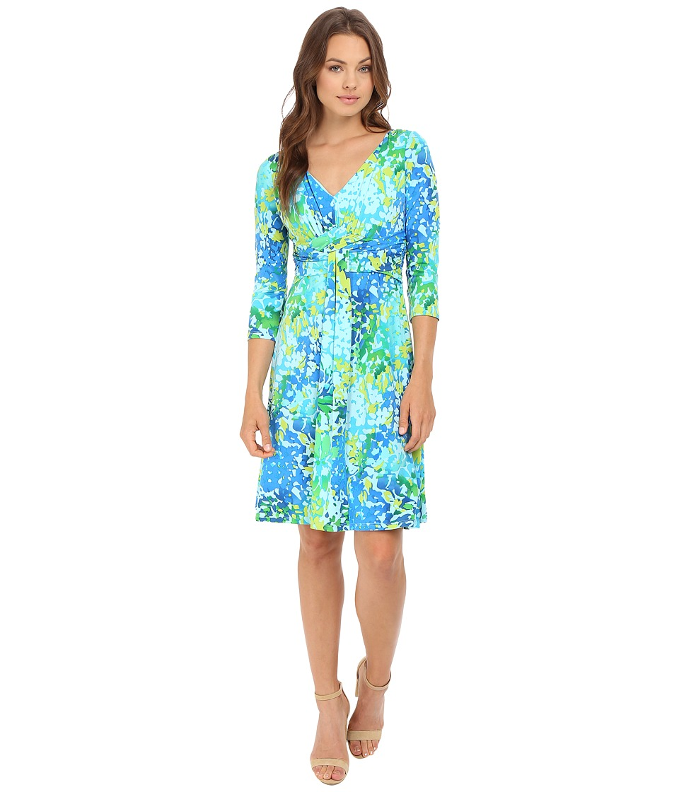 London Times Printed Jersey Fit and Flare Dress (Green Multi) Women