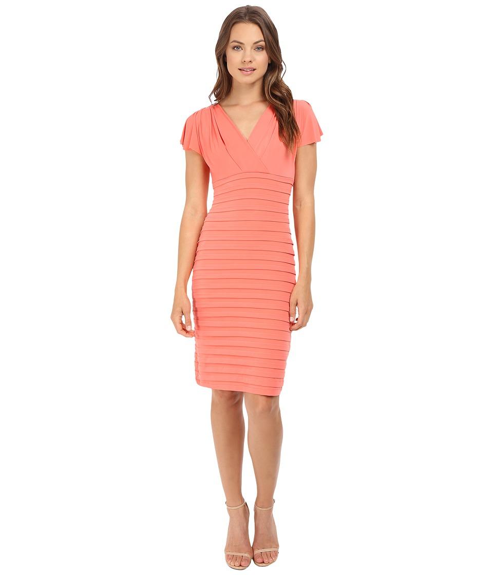 London Times Shutter Sheath Dress (Coral) Women