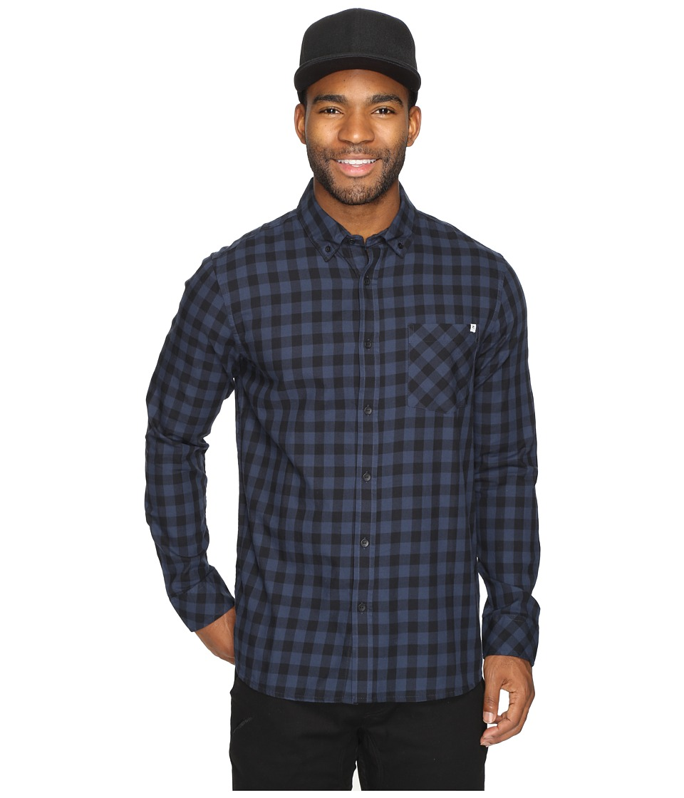 Rip Curl - Checked Out Long Sleeve Woven (Navy) Men's Clothing