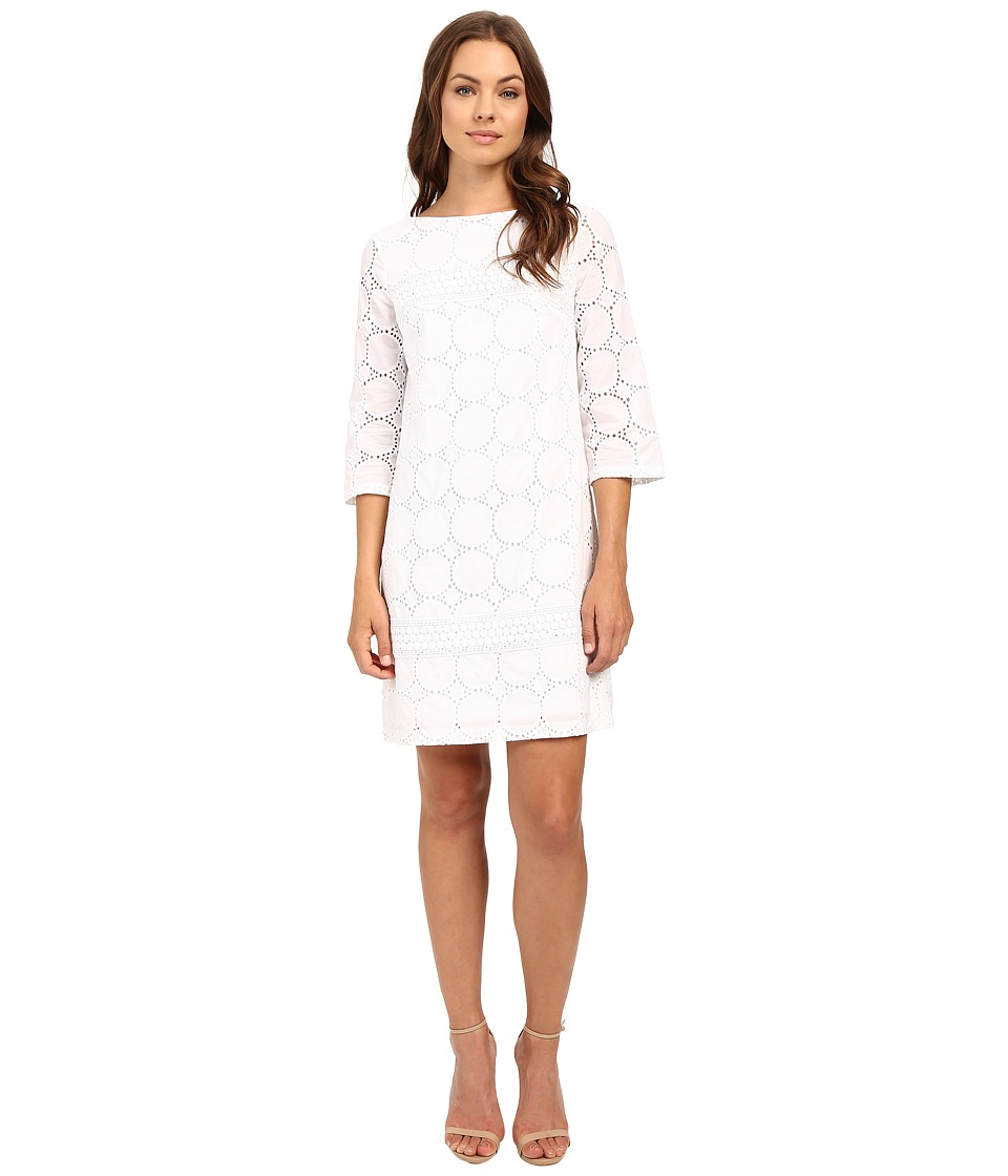 London Times - Circle Dot Eyelet Shift Dress (White) Women's Dress