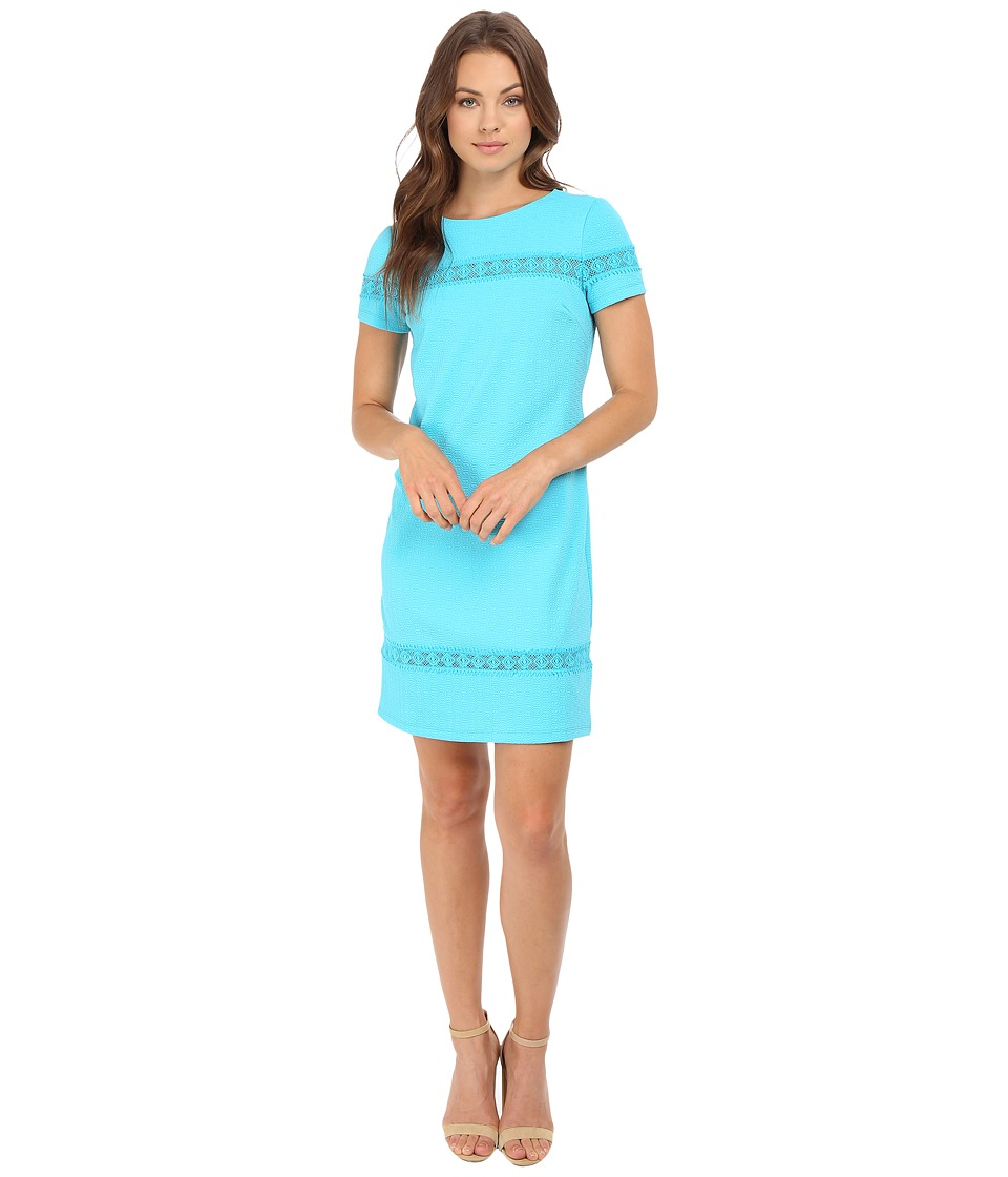 London Times - Geo Diamond Shift Dress (Blue) Women's Dress