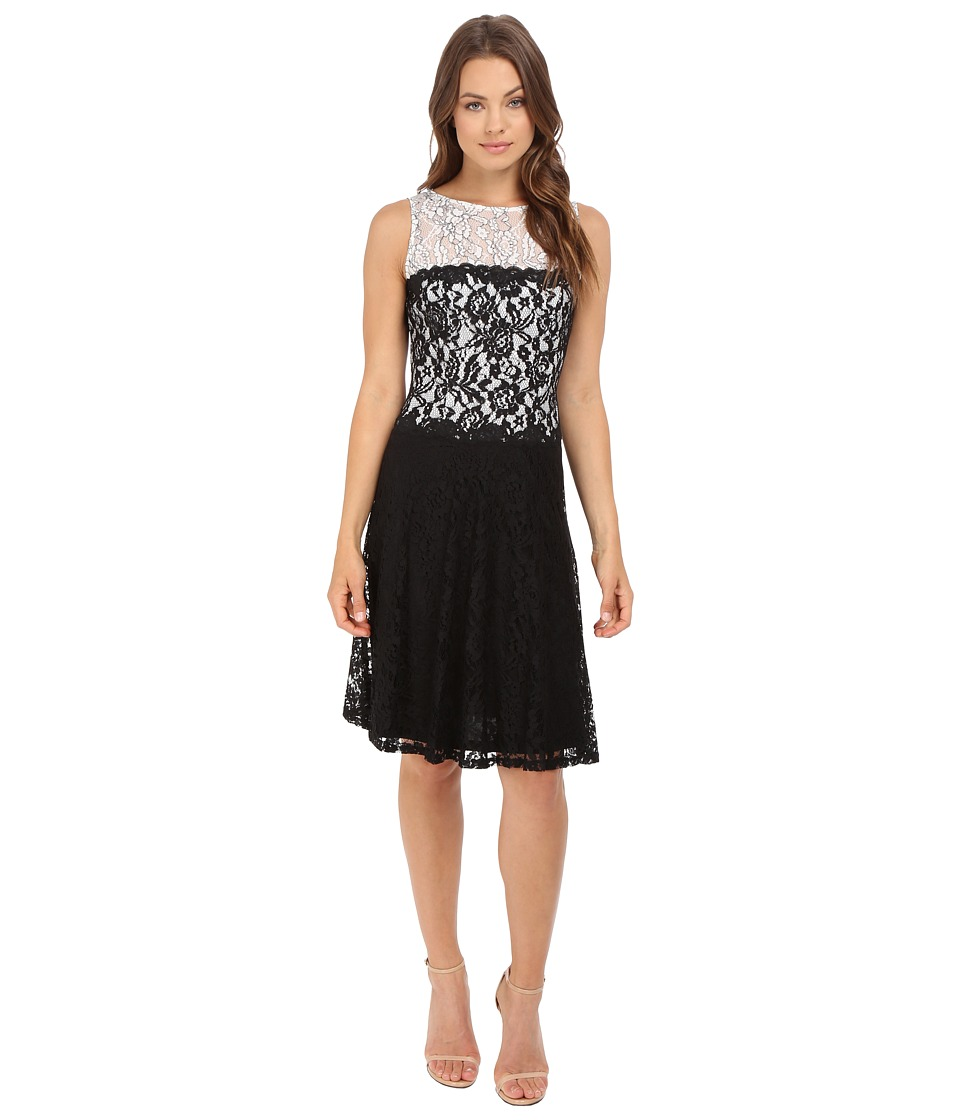 London Times - Branch Flower Lace Dress (Black/White) Women's Dress