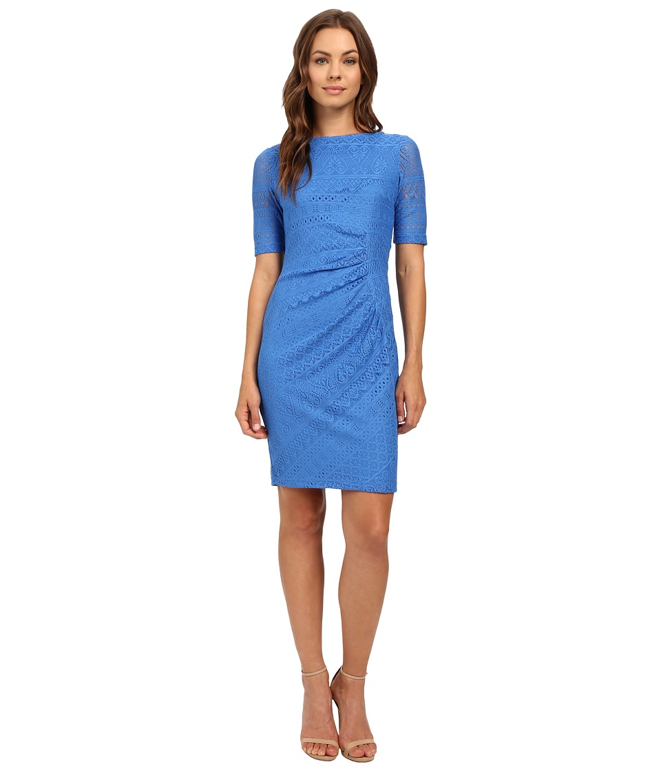 London Times Multi Media Stripe Side Drape Dress (Blue) Women