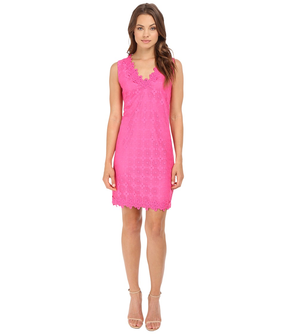 London Times - Daisy Dot Sleeveless Shift With V-Neck Dress (Pink) Women's Dress