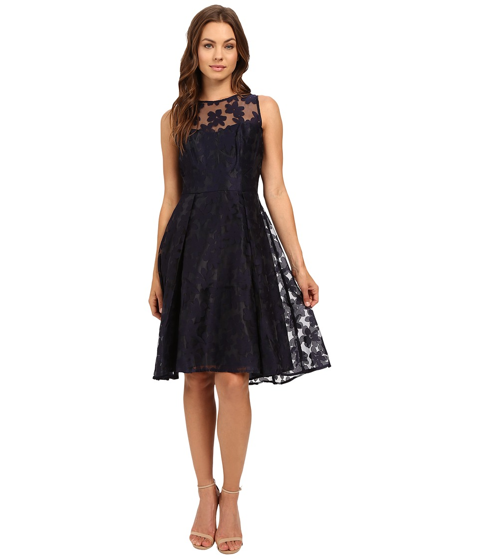 London Times - Flower Organza Full Skirt (Navy) Women's Dress