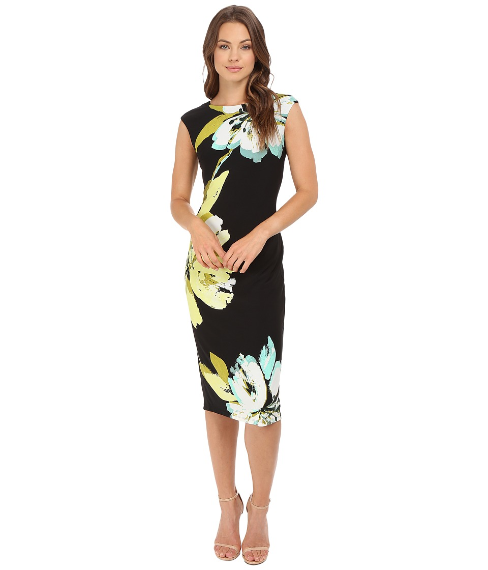 London Times - Lily Pad Jersey Sheath Dress (Black/Lemon) Women's Dress