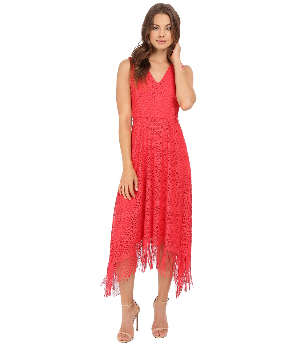 London Times - Geo Stripe Fringe Fit and and Flare Dress (Red) Women's Dress