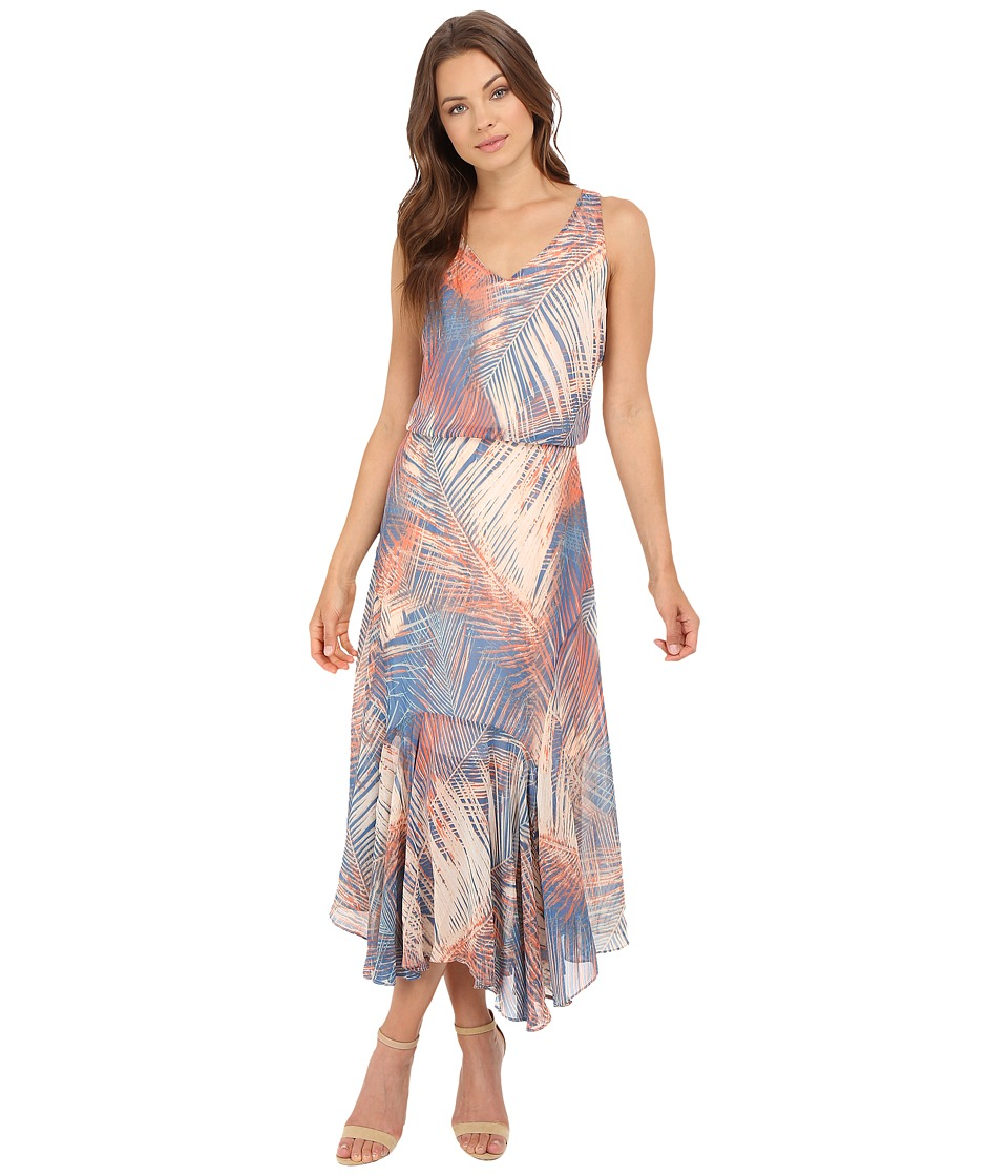 London Times - V-Neck Chiffon Midi Dress (Blue/Peach) Women's Dress