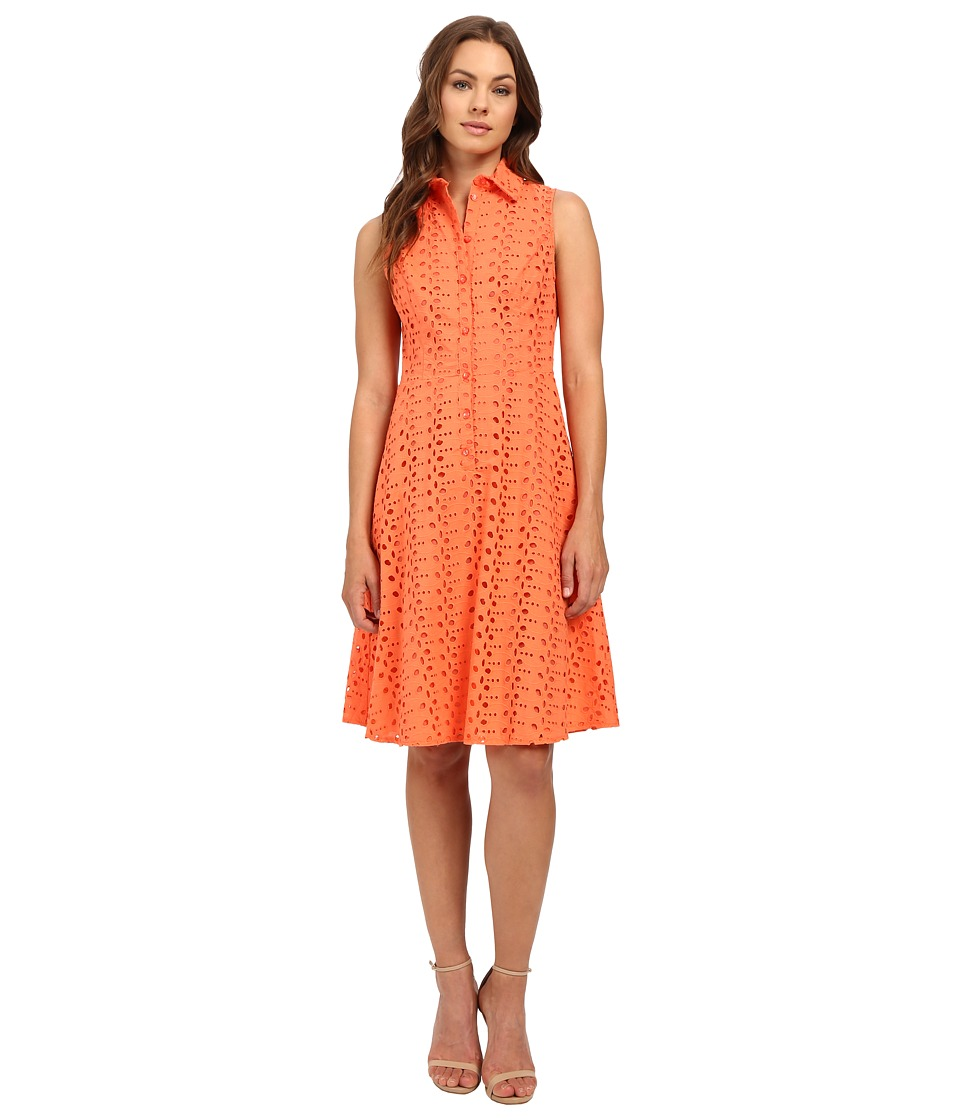 London Times Branch Leaf Eyelet Fit and Flare Dress (Coral) Women