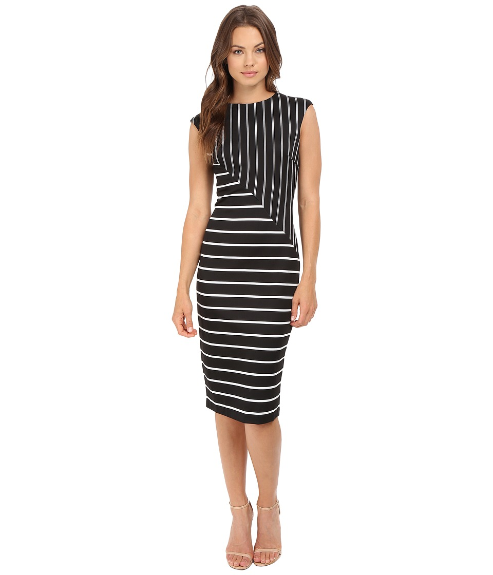 London Times - Multi Stripe Sheath Dress (Black/White) Women's Dress