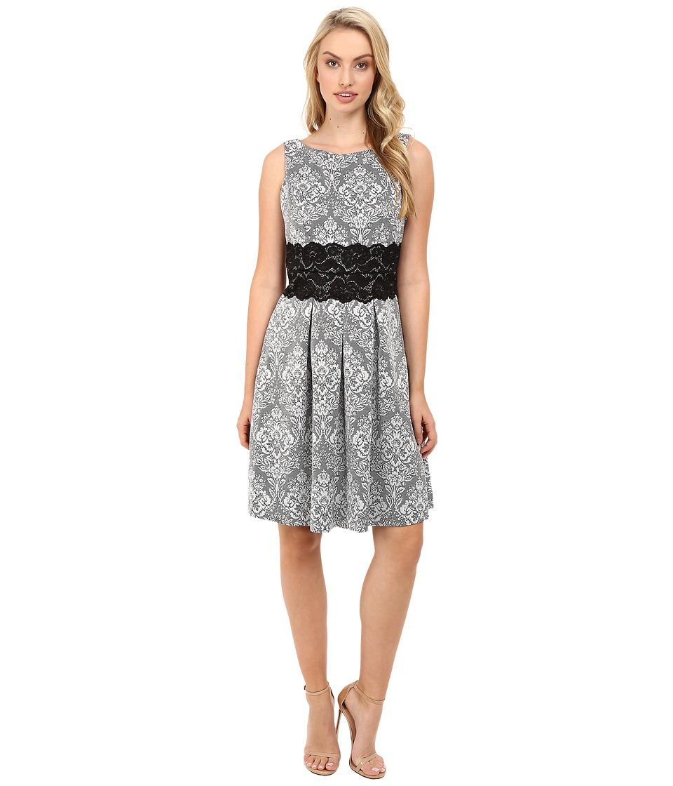 Sangria - Patterned Fit Flare Dress w/ Lace Waist Detail (Black/Ivory) Women's Dress