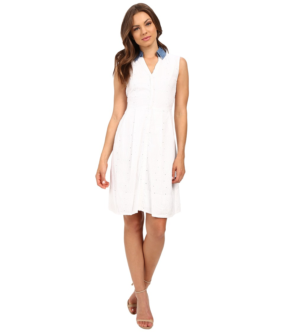 Sangria - Eyelet Fit Flare w/ Chambray Collar (Ivory) Women's Dress