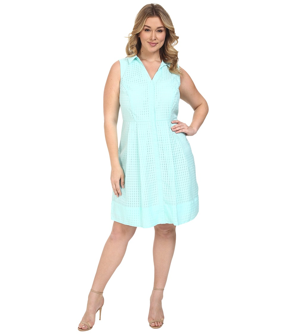 Sangria - Plus Size Textured Skirt Dress Fit Flare w/ Collar (Soft Mint) Women