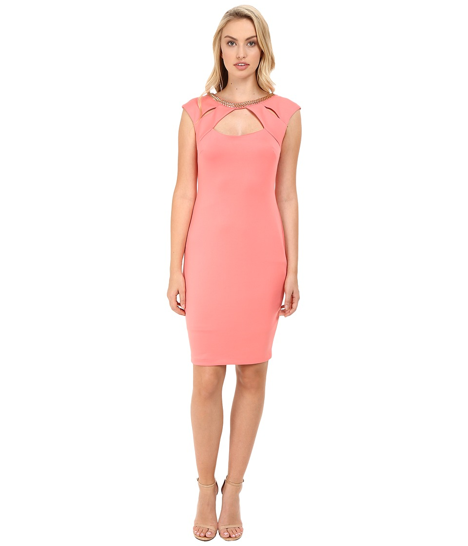 Sangria - Cut Out and Embellished Neck Line Scuba Sheath (Primrose) Women