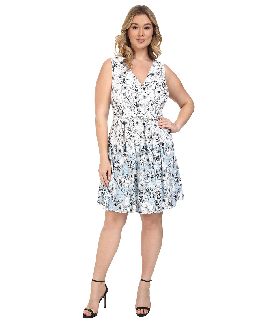 Sangria - Plus Size V-Neck Floral Print Pleated Skirt Fit Flare Dress (Ivory/Blue) Women's Dress