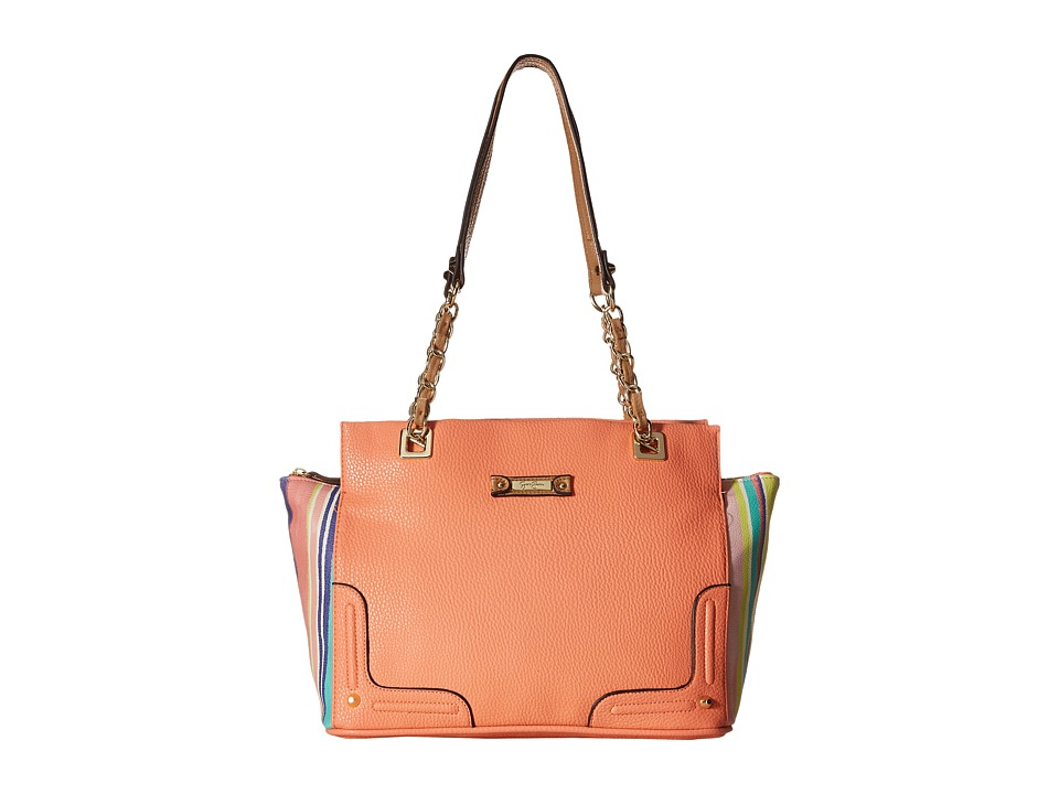 Jessica Simpson - Eileen Satchel (Coral/Bouquet Stripe) Satchel Handbags
