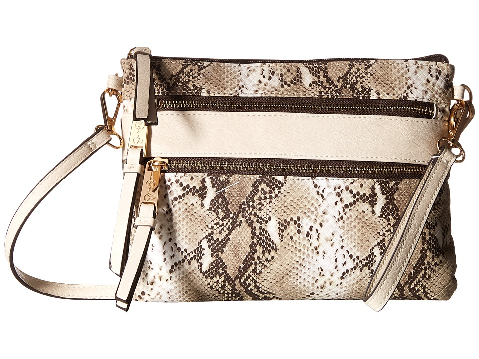Jessica Simpson - Clara Top Zip Crossbody (Brown Python) Cross Body Handbags