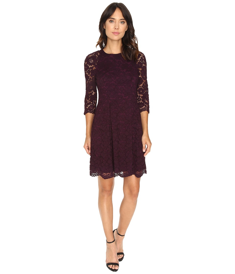 Vince Camuto - Lace Raglan Lace Sleeve Fit and Flare (Aubergine) Women's Dress