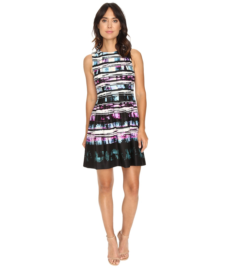 Vince Camuto - Printed Sleeveless Fit and Flare (Purple Multi) Women's Dress