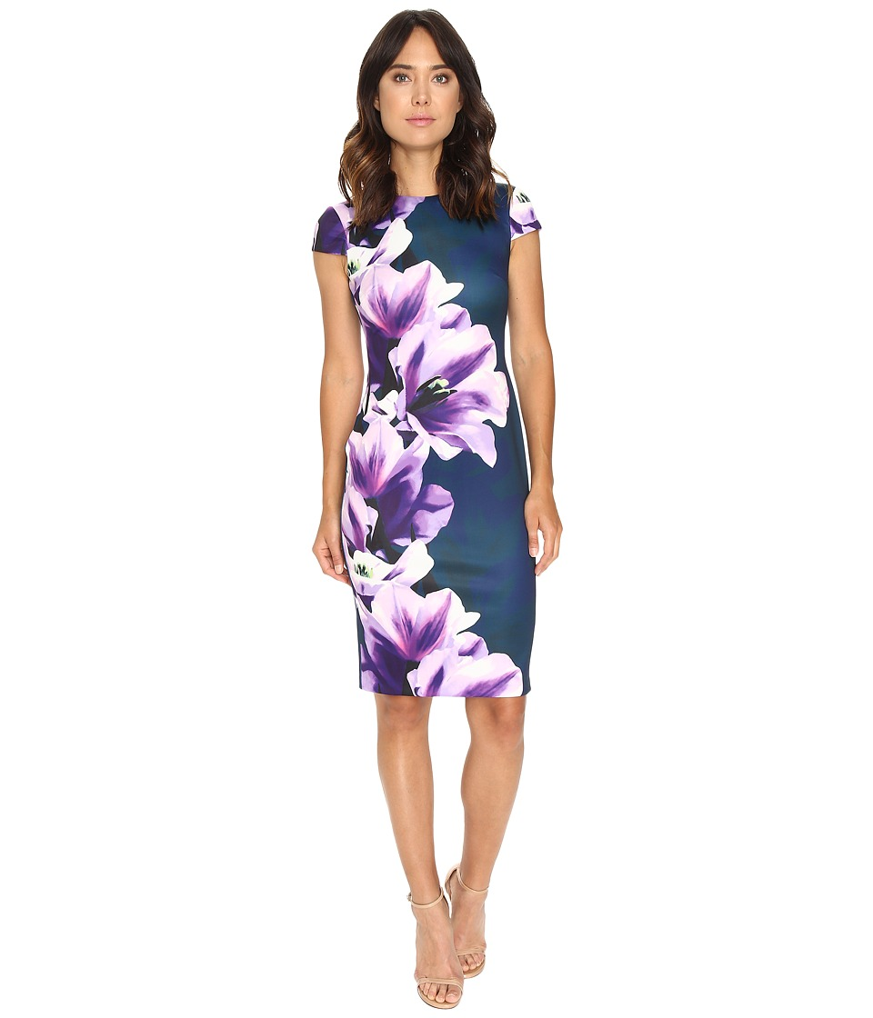 Vince Camuto - Printed Scuba Cap Sleeve Body Con Dress (Purple Multi) Women's Dress