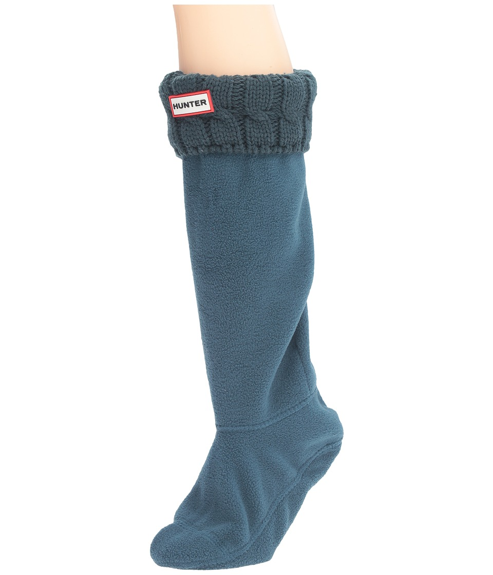 Hunter - 6 Stitch Cable Boot Sock (Ocean) Women's Crew Cut Socks Shoes