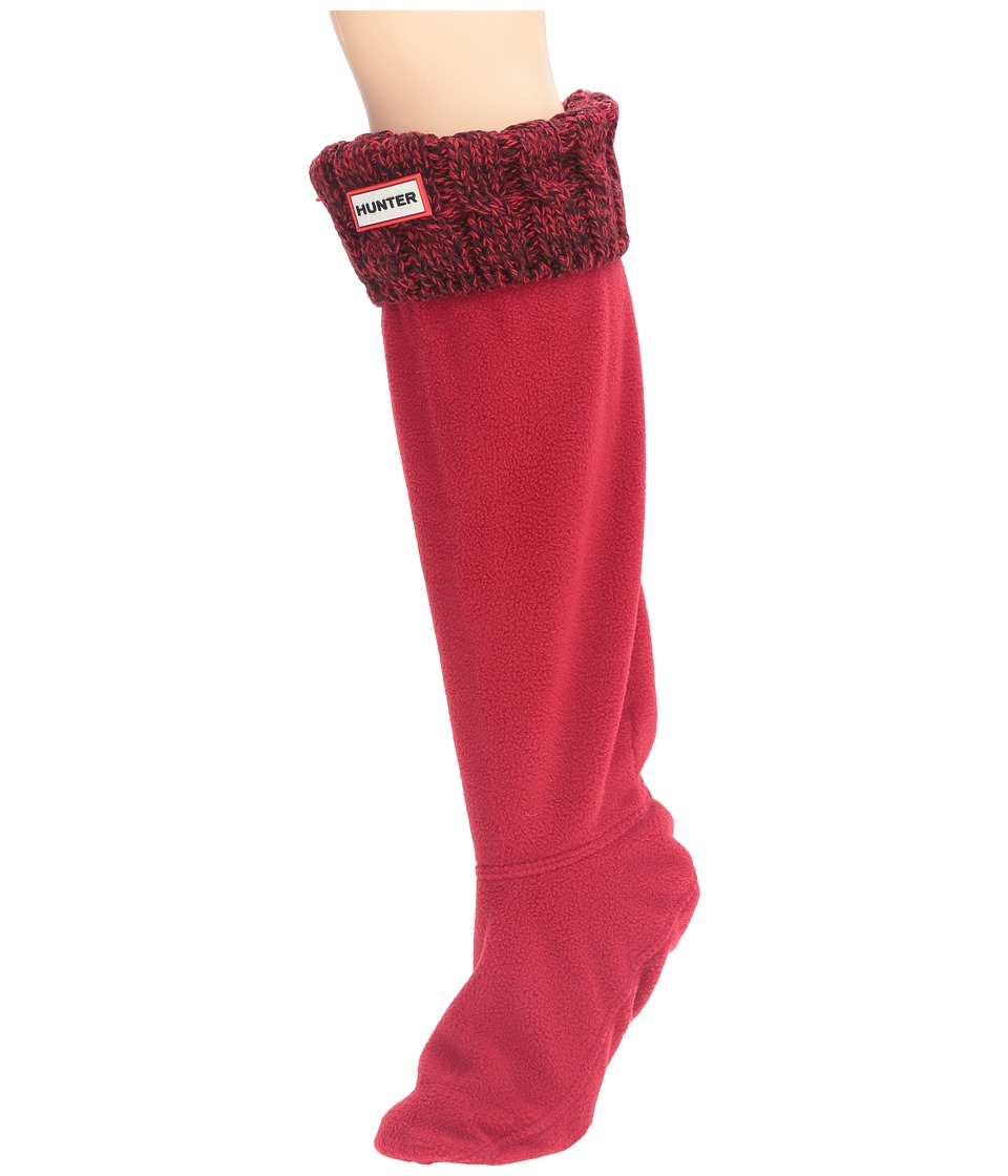 Hunter - 6 Stitch Cable Boot Sock (Military Red/Dulse) Women's Crew Cut Socks Shoes