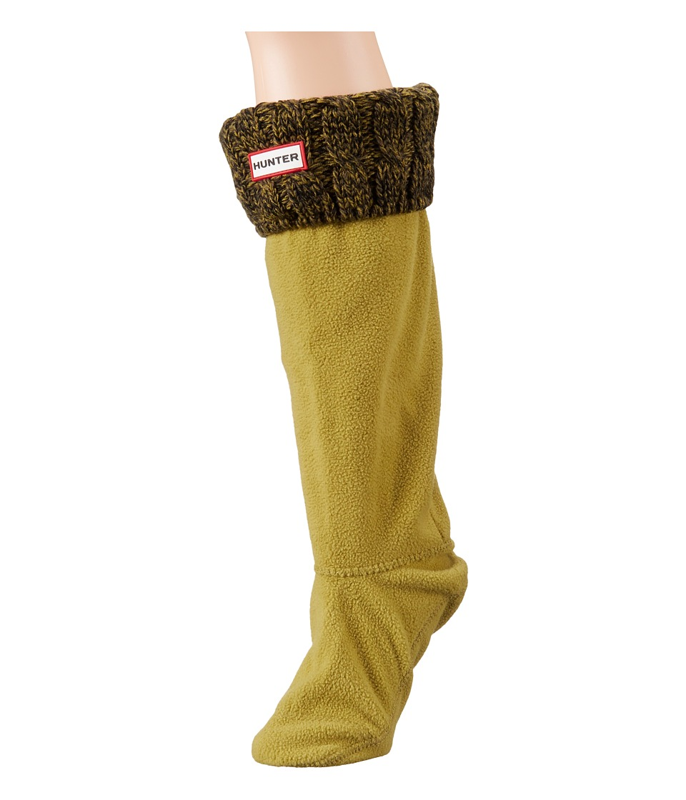 Hunter - 6 Stitch Cable Boot Sock (Dark Olive/Kelp) Women's Crew Cut Socks Shoes