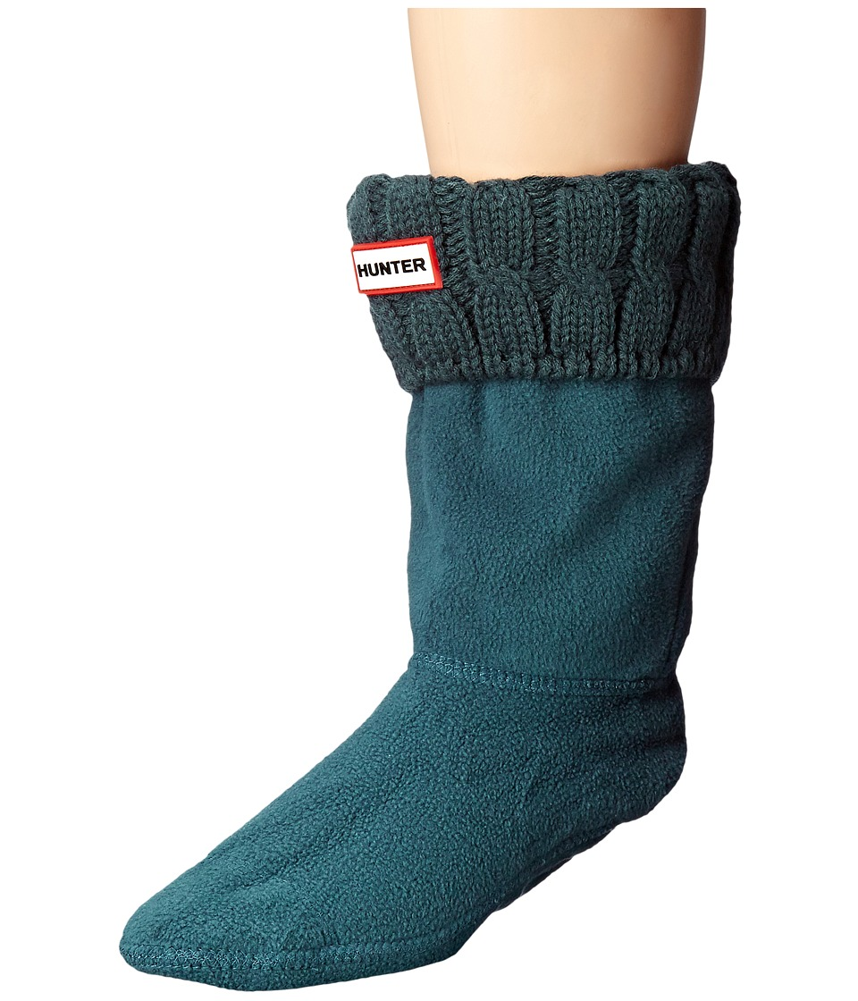 Hunter - 6 Stitch Cable Boot Sock - Short (Ocean) Women's Crew Cut Socks Shoes
