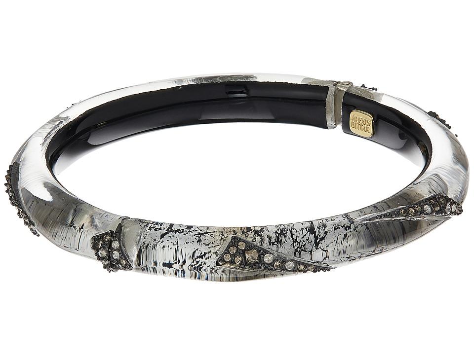 Alexis Bittar - Crystal Encrusted Origami Inlay Hinge Bracelet (Antique Silver) Bracelet