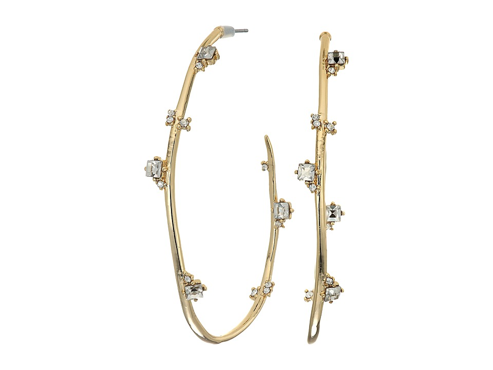 Alexis Bittar - Jagged Crystal Studded Hoop Earrings (Gold) Earring