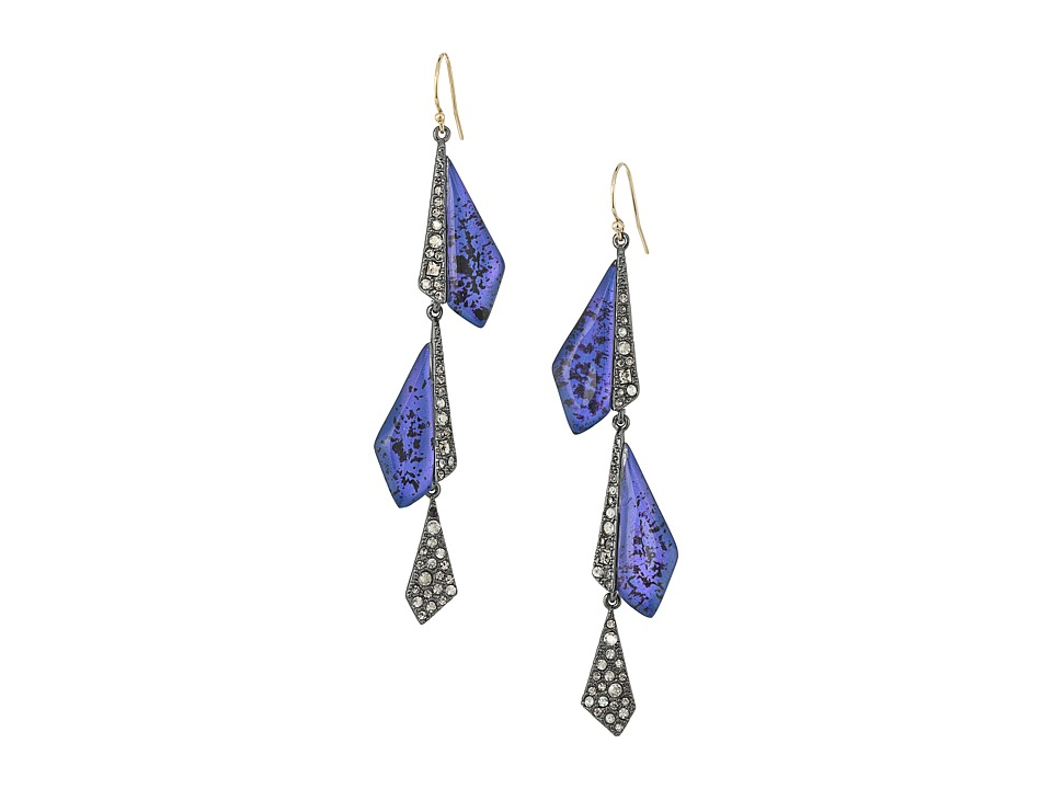 Alexis Bittar - Crystal Encrusted Origami Wire Earrings (Laguna Blue) Earring