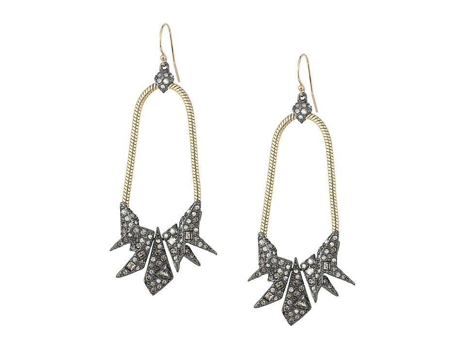 Alexis Bittar - Two-Tone Crystal Encrusted Origami Tear Earrings (10K Gold/Ruthenium) Earring
