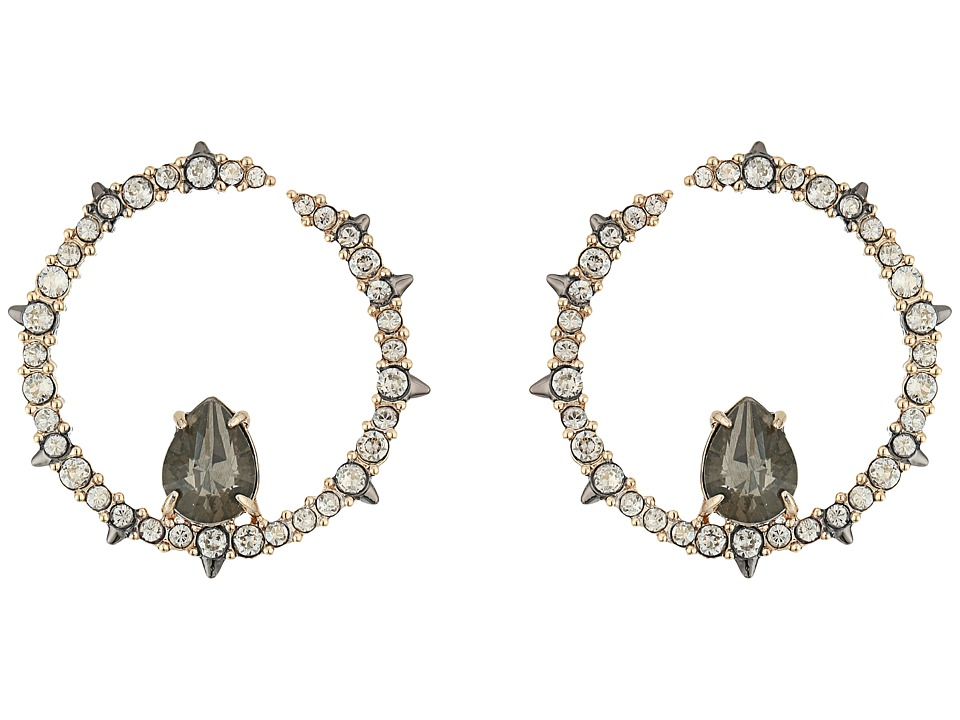 Alexis Bittar - Crystal Encrusted Front Facing Hoop Earrings (Gold) Earring
