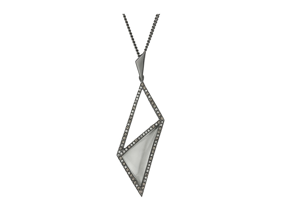 Alexis Bittar - Crystal Framed Diamond Shaped Pendant Necklace (Silver) Necklace