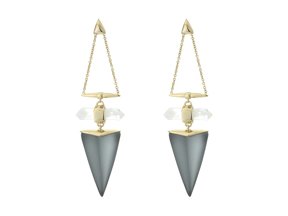 Alexis Bittar - Faceted Rock Crystal Dangling Post Drop Earrings (Cool Grey Clear) Earring