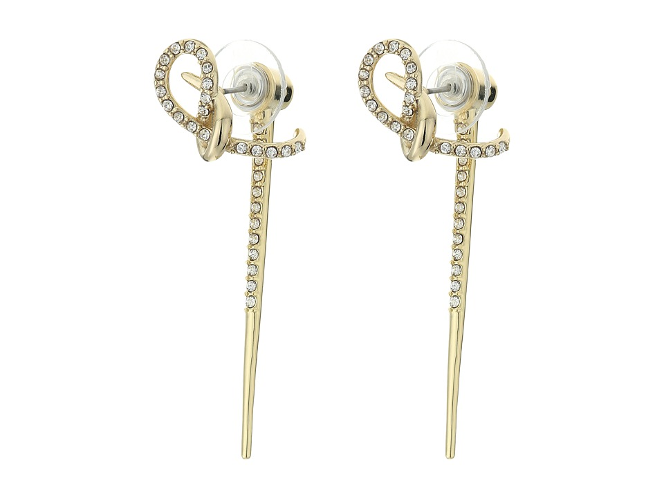 Alexis Bittar - Crystal Encrusted Ear Hook w/ Removable Spiked Jacket Earrings (Gold) Earring