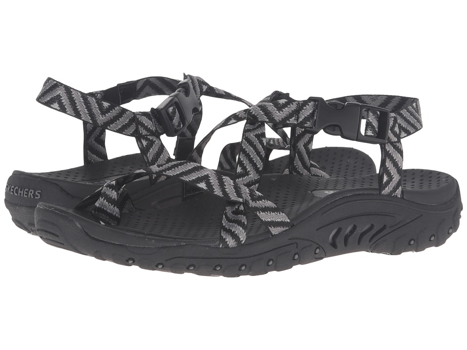 SKECHERS - Reggae - Haystack (Black/Gray) Women's Sandals