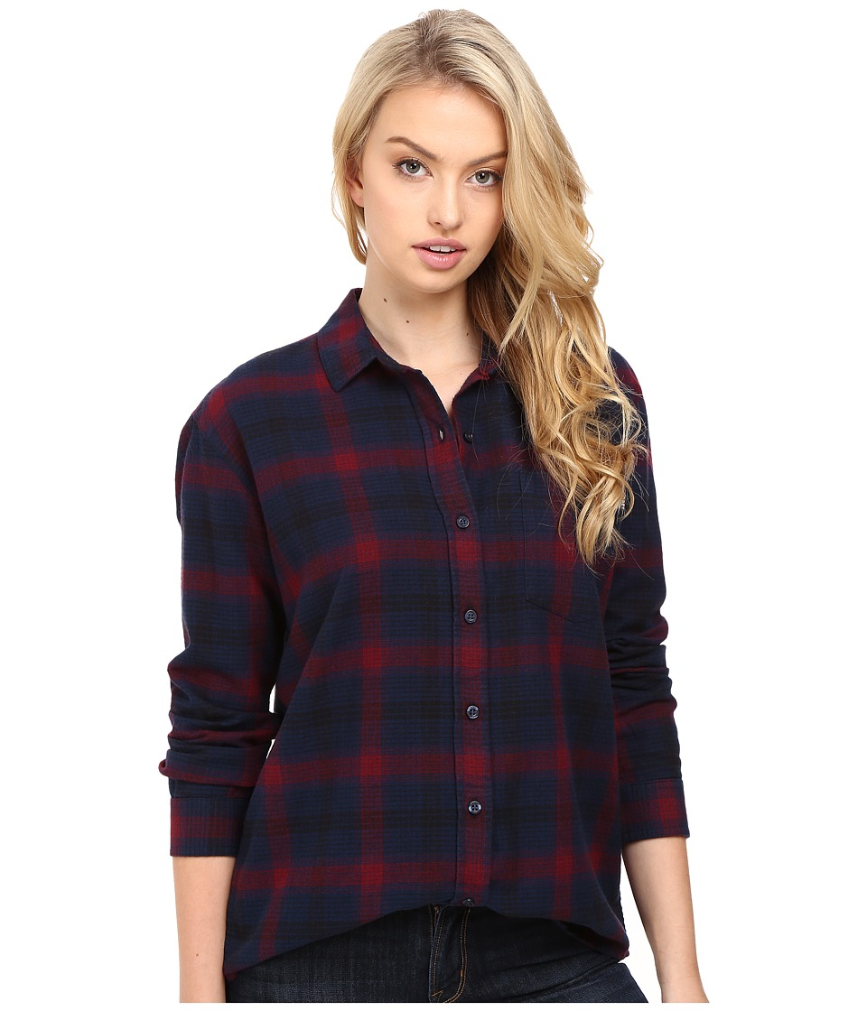 Obey - Montague Button Down (Navy/Burgundy Multi) Women's Clothing