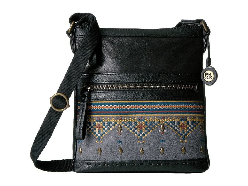 The Sak - Pax Swing Pack (Black Embroidered Felt) Cross Body Handbags