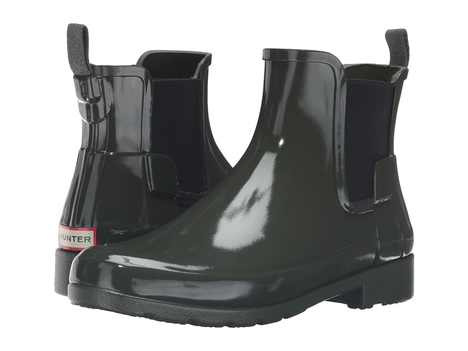 Hunter - Original Refined Chelsea Gloss (Dark Olive) Women's Rain Boots