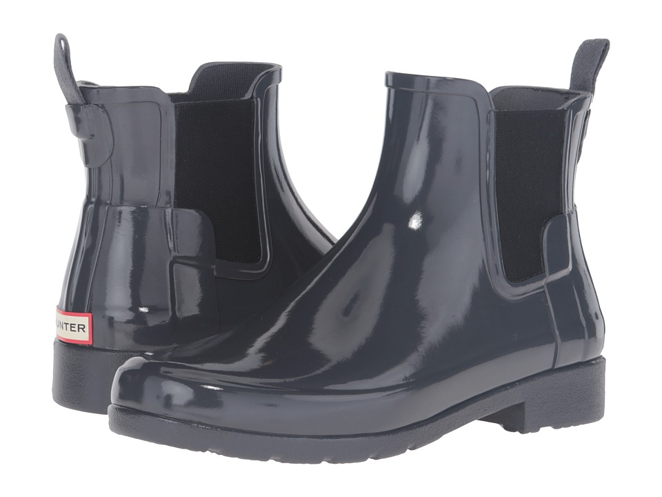 Hunter - Original Refined Chelsea Gloss (Dark Slate) Women's Rain Boots