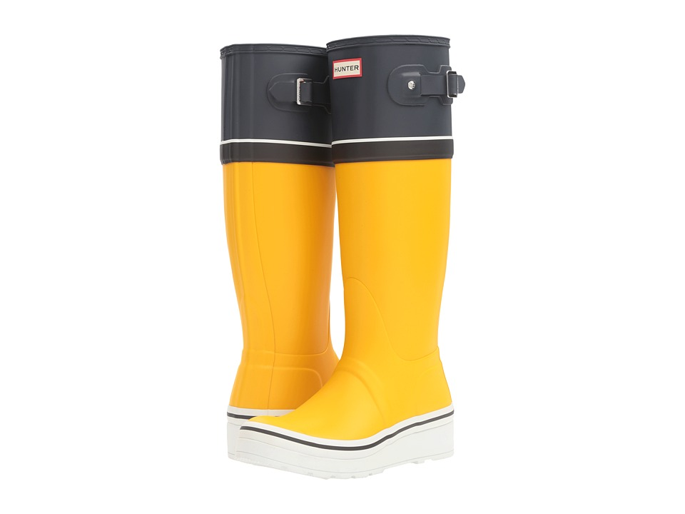 Hunter - Original Tall Wedge Sole Buoy Stripe (Sowester/Navy/White/Black) Women's Rain Boots